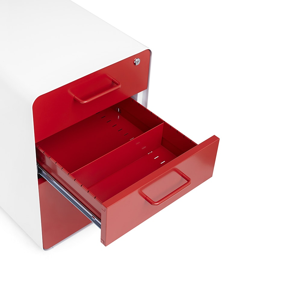 White + Red Stow 3 Drawer File Cabinet, Rolling,Red,hi  ...