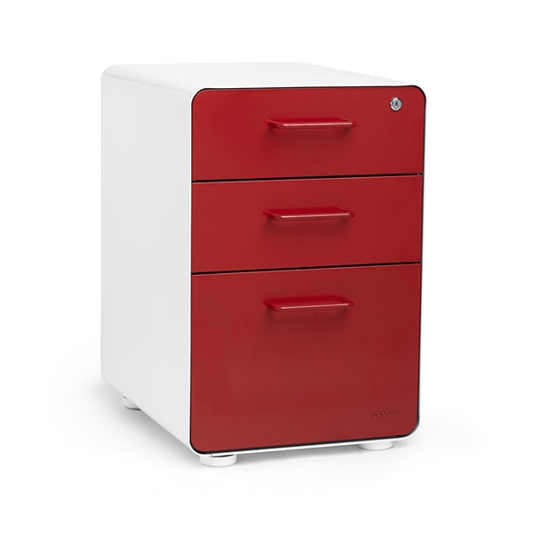 White + Red Stow 3-Drawer File Cabinet,Red,hi-res