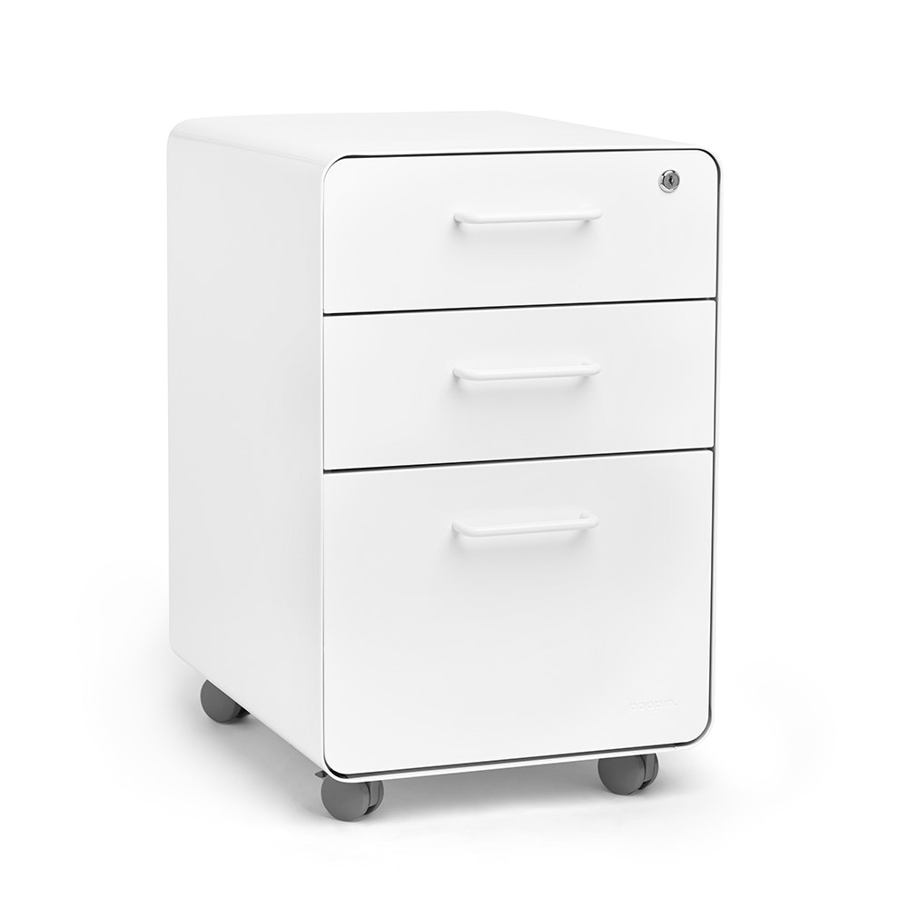 White Stow 3 Drawer File Cabinet, Rolling,White,hi Res