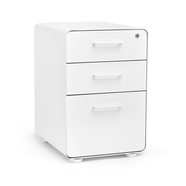 White Stow 3-Drawer File Cabinet, Fully Loaded,White,hi-res
