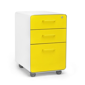 White + Yellow Stow 3-Drawer File Cabinet, Rolling, Fully Loaded,Yellow,hi-res