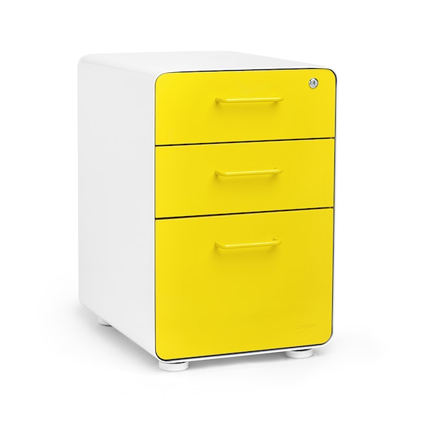 White + Yellow Stow 3-Drawer File Cabinet, Fully Loaded,Yellow,hi-res