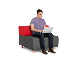 Block Party Lounge Chair, Dark Gray + Red,Dark Gray,hi-res