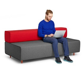 Dark Gray + Red Block Party Lounge Sofa,Dark Gray,hi-res