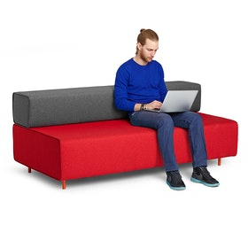 Red + Dark Gray Block Party Lounge Sofa,Red,hi-res