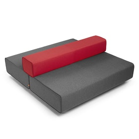 Dark Gray + Red Block Party LoungeBack It Up Sofa,Dark Gray,hi-res