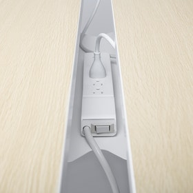 White Series A Double Desk Cable Hideaway,White,hi-res