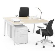 Series A Double Desk For 2, White Legs,,hi-res