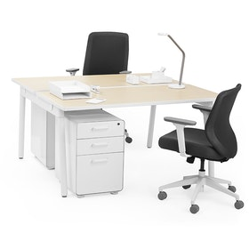 "Series A Double Desk for 2, Light Oak, 57"", White Legs,Light Oak,hi-res"