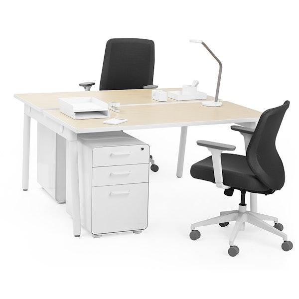 """Series A Double Desk for 2, Light Oak, 57"""", White Legs,Light Oak,hi-res"""