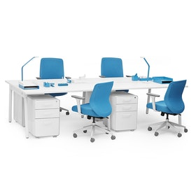 "Series A Double Desk for 4, White, 57"", White Legs,White,hi-res"