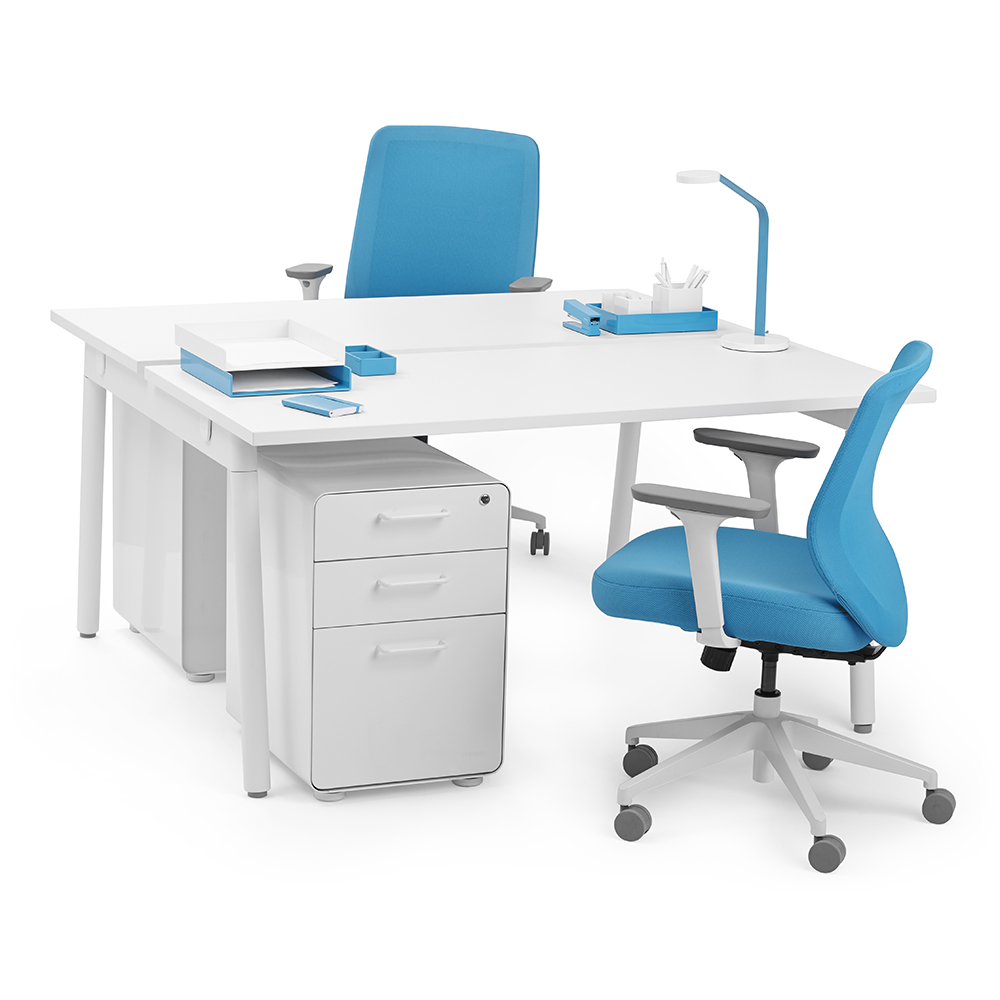 Series a double desk for 2 white 57 white legs