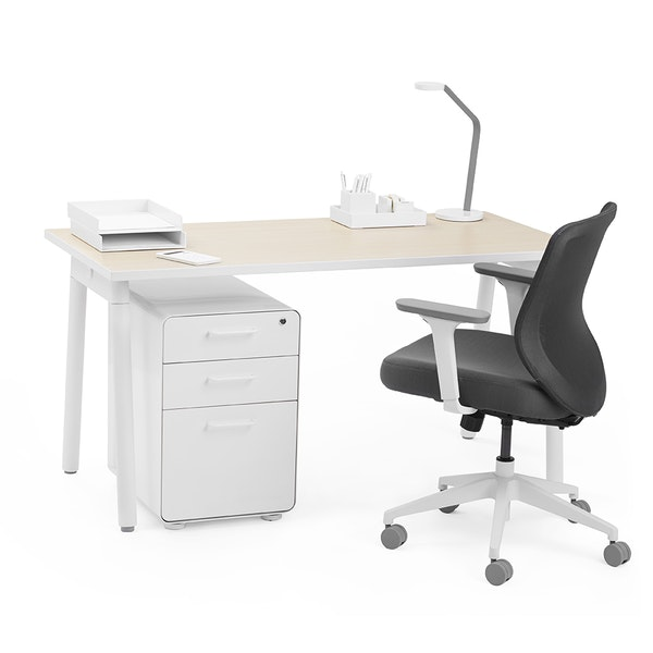 """Series A Single Desk for 1, Light Oak, 57"""", White Legs,Light Oak,hi-res"""