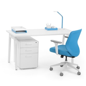 "Series A Single Desk for 1, White, 57"", White Legs,White,hi-res"