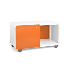 White + Orange Stash Sliding Door Locker, Rolling,Orange,hi-res