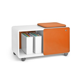 White + Orange Stash Sliding Door Locker with Stash Pad, Rolling, Fully Loaded,Orange,hi-res