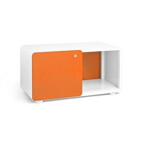 White + Orange Stash Sliding Door Locker,Orange,hi-res