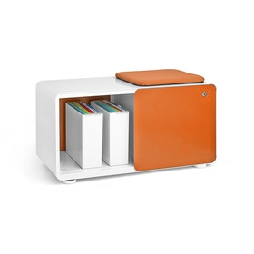 White + Orange Stash Sliding Door Locker with Stash Pad, Fully Loaded,Orange,hi-res