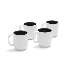 White + Black Mugs, Set of 4,Black,hi-res
