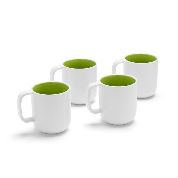 White + Lime Green Mugs, Set of 4,Lime Green,hi-res