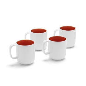 White + Orange Mugs, Set of 4,Orange,hi-res