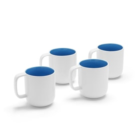 White + Pool Blue Mugs, Set of 4,Pool Blue,hi-res