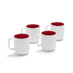 White + Red Mugs, Set of 4,Red,hi-res