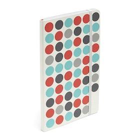 Coral + Aqua Dots Medium Soft Cover Notebook,Coral,hi-res