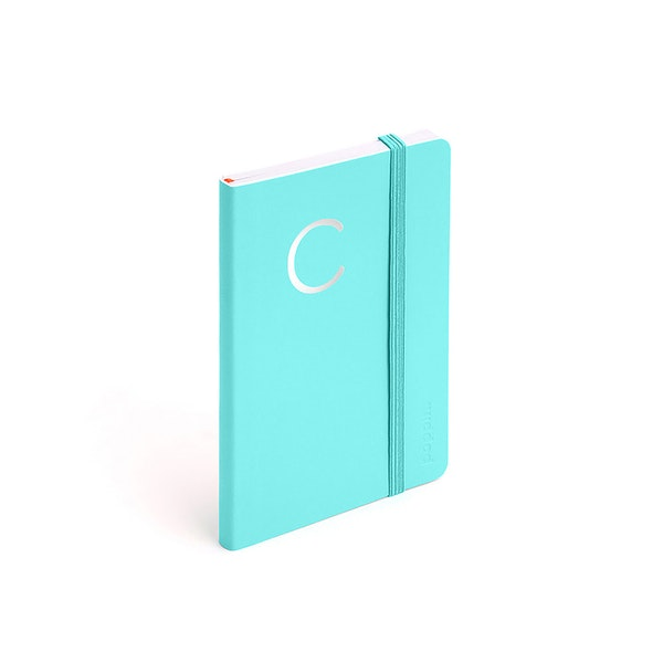Aqua Small Soft Cover Notebook with Silver Initial A,,hi-res