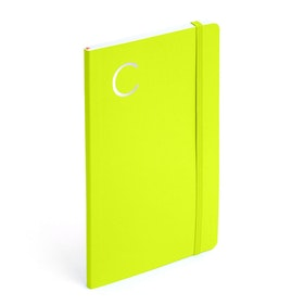 Lime Green Medium Soft Cover Notebook with Silver Initial,,hi-res