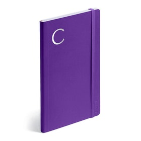 Purple Medium Soft Cover Notebook with Silver Initial,,hi-res