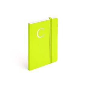 Lime Green Small Soft Cover Notebook with Silver Initial,,hi-res