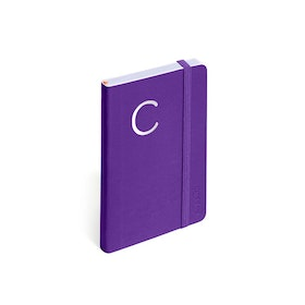 Purple Small Soft Cover Notebook with Silver Initial,,hi-res