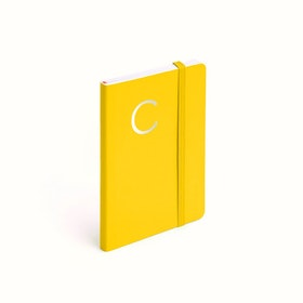 Yellow Small Soft Cover Notebook with Silver Initial,,hi-res
