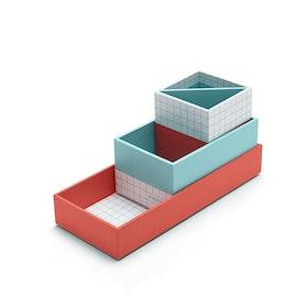 Paperboard Coral + Aqua Checka Nesting Desk Set,Aqua,hi-res