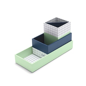 Paperboard Navy + Mint Checka Nesting Desk Set,Navy,hi-res
