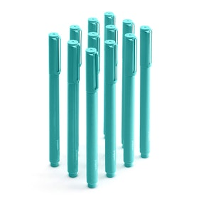 Aqua Signature Ballpoint Pens w/ Blue Ink, Set of 12,Aqua,hi-res