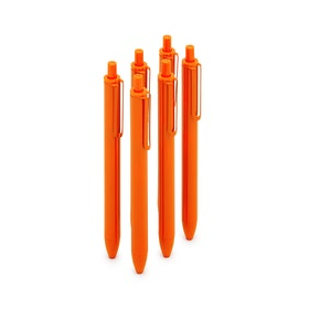 Orange Retractable Ballpoint Pens, Set of 6,Orange,hi-res