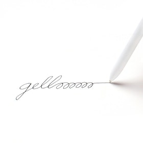 White Retractable Gel Luxe Pens w/ Black Ink, Set of 6,White,hi-res