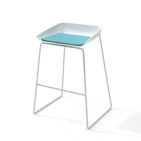Scoop Bar Stool, Aqua Seat, Silver Frame,Aqua,hi-res