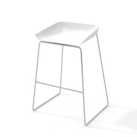 Scoop Bar Stool, Silver Frame,White,hi-res