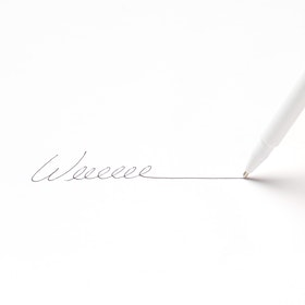 Custom White Signature Ballpoint Pen with Black Ink,White,hi-res
