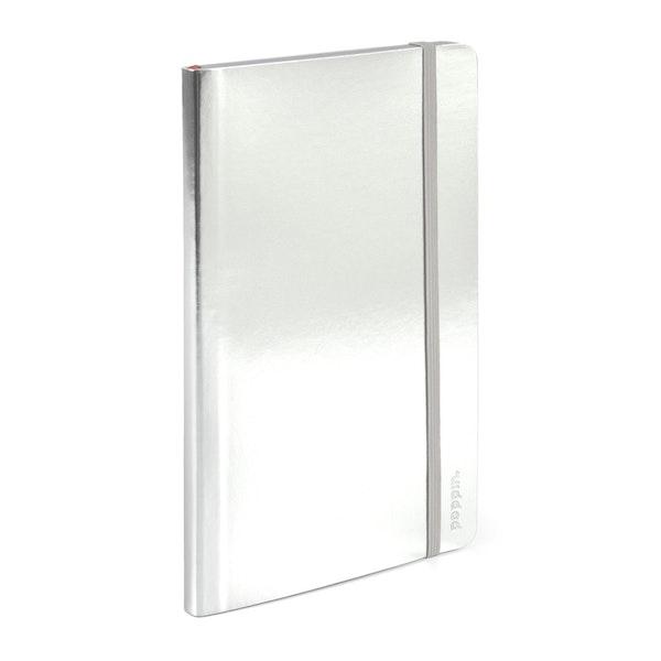 Silver Medium Soft Cover Notebook,Silver,hi-res