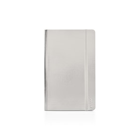 Silver Small Soft Cover Notebook,Silver,hi-res