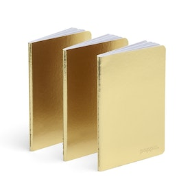 Gold Mini Soft Cover Notebooks, Set of 3,Gold,hi-res