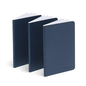 Navy Mini Soft Cover Notebooks, Set of 3,Navy,hi-res