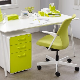White + Lime Green Stow 3-Drawer File Cabinet,Lime Green,hi-res