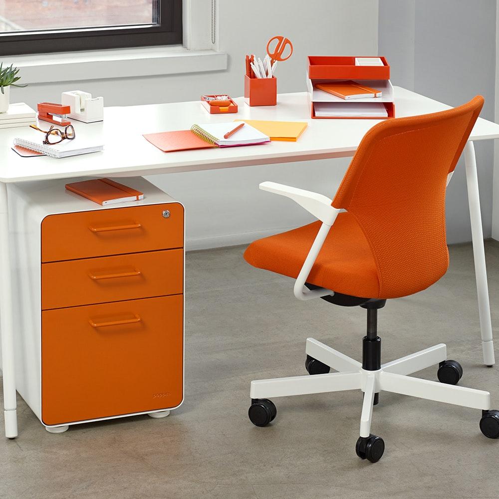 office orange. White + Orange Stow 3-Drawer File Cabinet,Orange,hi-res Office M