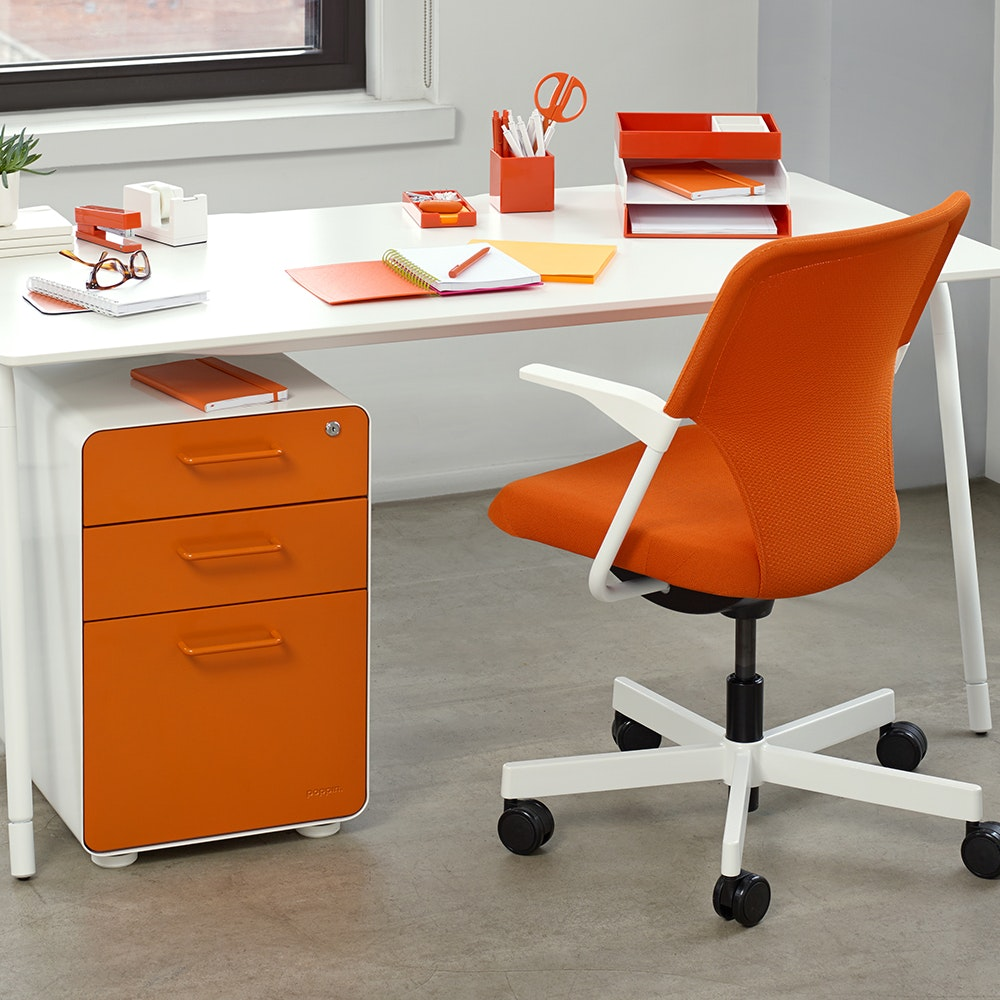 Gentil White + Orange Stow 3 Drawer File Cabinet,Orange,hi Res ...