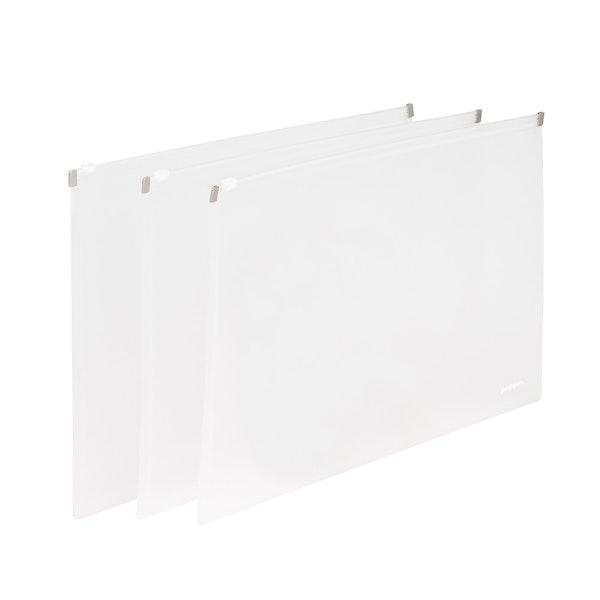 Clear Large Zip Folios, Set of 3,White,hi-res